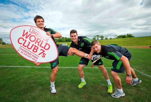 Announcing details of the Limerick World Club 7s at the UL sports centre were (left to right) Gerhard van den Heever, Ronan O'Mahony and Colm McMahon. Photo: INPHO/Morgan Treacy