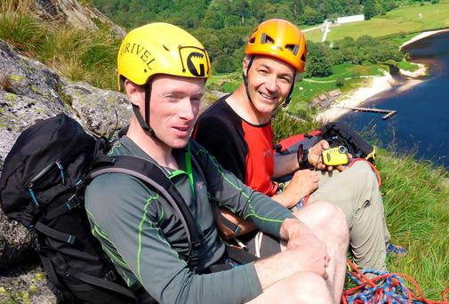Colm Ennis (left) and Peter Britton (right) who died while climbing Mont Blanc; Pictured here climbing at Luggala