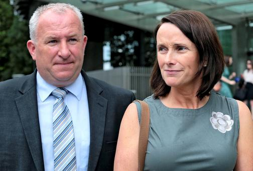Adrian Ronan leaving court yesterday with his wife Mary