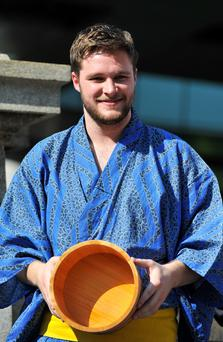 TOKYO, JAPAN - JULY 28: Jack Reynor attends the promotional event for 'Transformers : Age Of Extinction' at the Nihonbashi on July 28, 2014 in Tokyo, Japan. (Photo by Keith Tsuji/Getty Images for Paramount)
