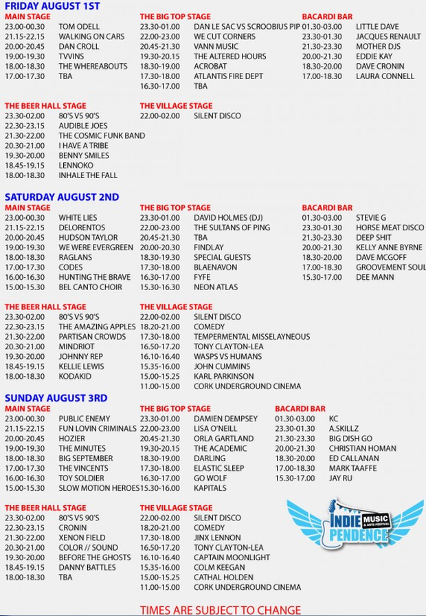Indiependence 2014 stage times