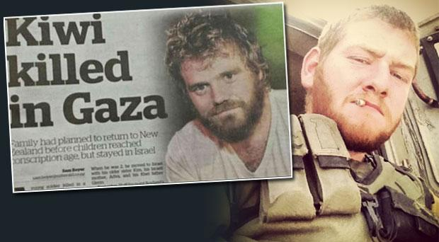 Sergeant Guy Boyland, 21, was killed on Friday in a battle with Hamas gunmen in the southern Gaza Strip. Inset: The New Zealand Herald's front page which featured a photo of Jackass star Ryan Dunn in error