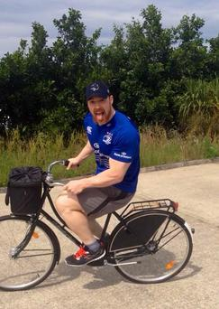 WWE star Sheamus is touring Ireland on a High Nelly and was cycling the Ring of Kerry today
