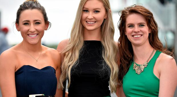 29 July 2014; Enjoying a day at the races are, from left, Michelle McDonagh, Sara Ní Chuirreain and Aisling McDonagh, all from Rossaveal, Co. Galway. Galway Racing Festival, Ballybrit, Co. Galway. Picture credit: Barry Cregg / SPORTSFILE