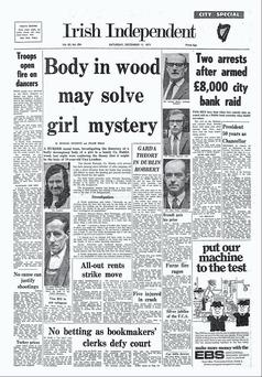 Front page of the Irish Independent, Saturday December 11, 1971 with story about Una Lynskey