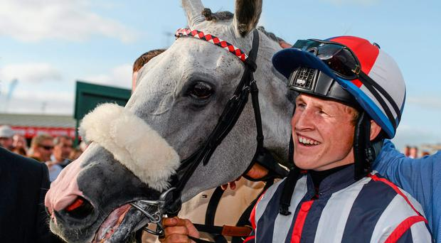 Jockey Gary Halpin with Vastonea after winning the featured Topaz Mile Handicap on the second day of the Galway festival. Photo: Barry Cregg / SPORTSFILE