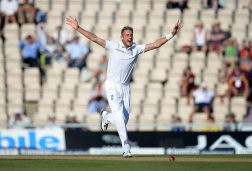 Stuart Broad collected 3-65 as England reduced India to 323-8 on day three of the third Test against India at the Ageas Bowl. Photo: Andrew Matthews/PA Wire