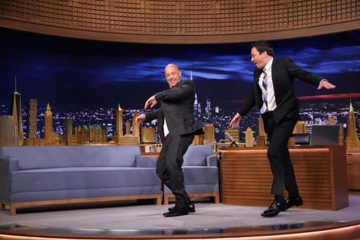 THE TONIGHT SHOW STARRING JIMMY FALLON -- Episode 0096 -- Pictured: (l-r) Actor Vin Diesel during an interview with host Jimmy Fallon on July 29, 2014 -- (Photo by: Douglas Gorenstein/NBC/NBCU Photo Bank via Getty Images)