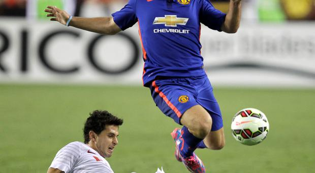 Manchester United's Luke Shaw in action against Inter Milan last night