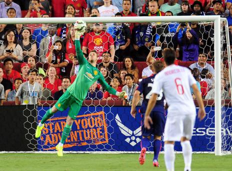 Manchester United goalkeeper David Da Gea makes a save last night