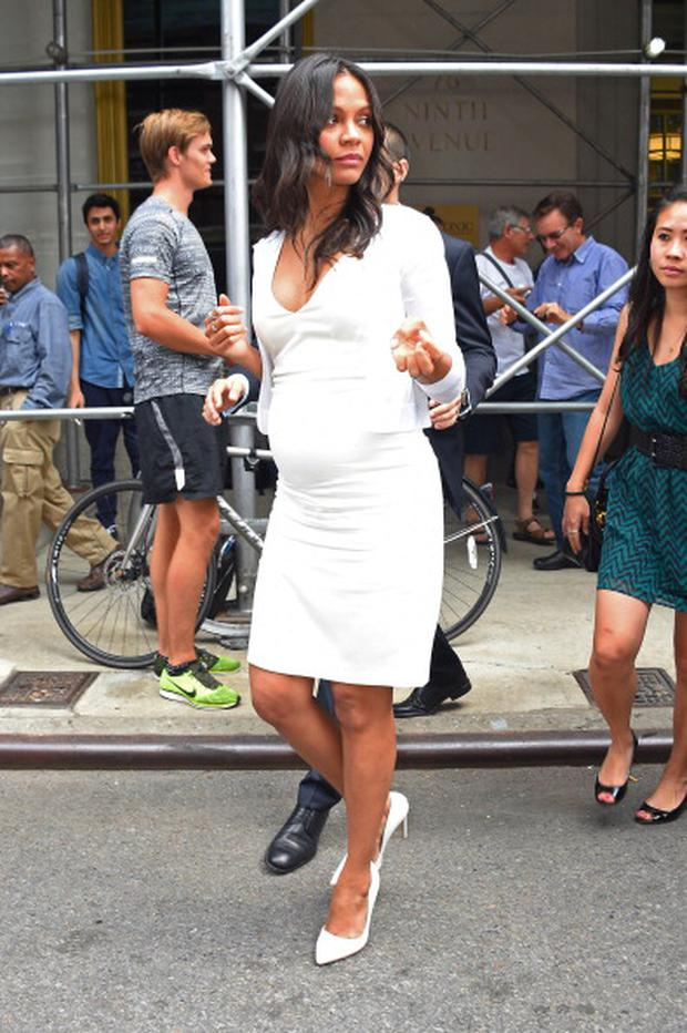 Zoe Saldana sighting on July 29, 2014 in New York City. (Photo by Josiah Kamau/BuzzFoto/FilmMagic)