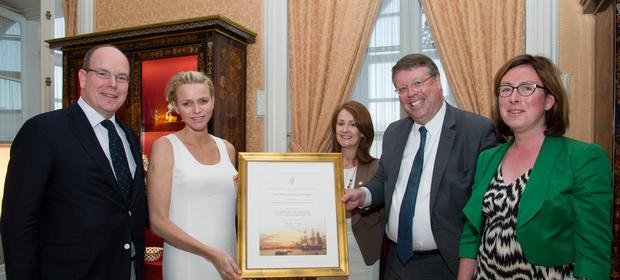 Monaco – Princess Charlene was presented with a Certificate of Irish Heritage by HE Rory Montgomery, Irish Ambassador to France.