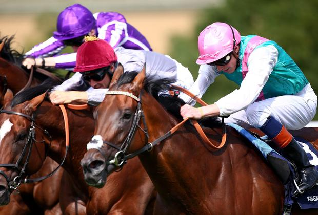 James Doyle (right) drives Kingman on past Toronado to win the QIPCO Sussex Stakes at Goodwood. Photo: Charlie Crowhurst/Getty Images
