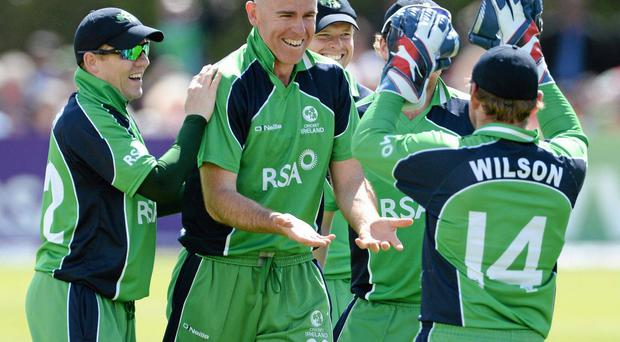 Former captain Trent Johnston (centre) played a major role in transforming the Irish side from the backwaters of Associate cricket to proud performers on the world stage. Photo: Brian Lawless / SPORTSFILE