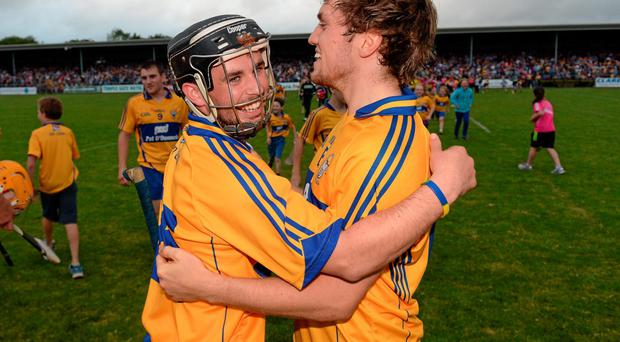 Clare's Cathal O'Connell (left) and Shane O'Donnell celebrate after their Munster U-21 HC final victory over Cork in Ennis. Photo: Stephen McCarthy / SPORTSFILE