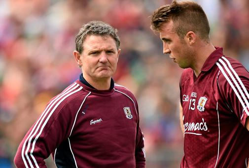 Galway manager Alan Mulholland and his captain Paul Conroy know they face a mountainous task against Kerry in their All-Ireland quarter-final. Photo: David Maher / SPORTSFILE