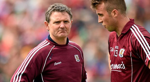Galway captain Paul Conroy, seen here with manager Alan Mulholland, will be a key player for Galway on Sunday