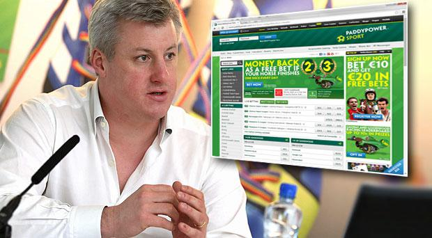 Paddy Power Chief Executive Patrick Kennedy. Inset: The bookmakers website