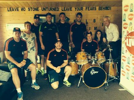 Munster players at the garage of Donal Walsh's home in Kerry today. Twitter/@VarleyDamien