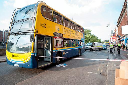 Scenes on Aston Quay this evening after a man was injured in a traffic accident involving a Dublin Bus. Pic: Collins Photos.