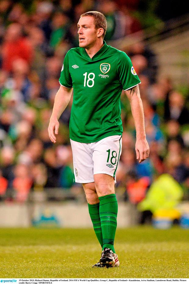 Republic of Ireland v Kazakhstan - 2014 FIFA World Cup Qualifier Group C...15 October 2013; Richard Dunne, Republic of Ireland. 2014 FIFA World Cup Qualifier, Group C, Republic of Ireland v Kazakhstan, Aviva Stadium, Lansdowne Road, Dublin. Picture credit: Barry Cregg / SPORTSFILE...COR