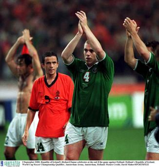 Dunne celebrates at the end if the game away to Holland in 2000