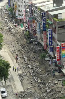A rooftop view shows a destroyed street from an massive gas explosion in Kaohsiung, Taiwan