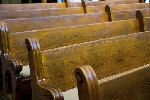 The heavy wooden pews were stolen from the church