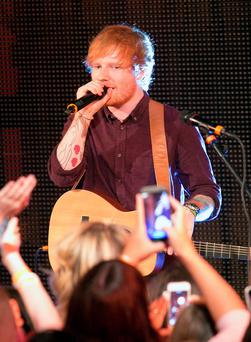 Ed Sheeran performing an intimate gig for RTE 2fm in studio 1 in front of an invited audience of listeners at RTE Radio studios, Dublin Photo: Gareth Chaney Collins