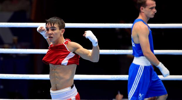 Northern Ireland's Michael Conlan celebrates beating Wales' Sean Mcgoldrick
