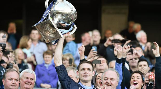 Captain Stephen Cluxton lifts the Sam Maguire Cup at Croke Park last September and the Dubs are odds-on to make it back-to-back wins this year. Picture credit: David Maher / SPORTSFILE