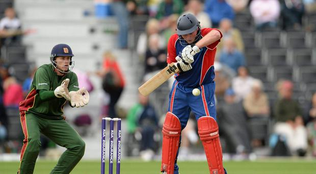 Andrew Poynter, Clontarf CC, bats against Merrion CC at last year's RSA Irish Senior Cup Final. Picture credit: Brian Lawless / SPORTSFILE