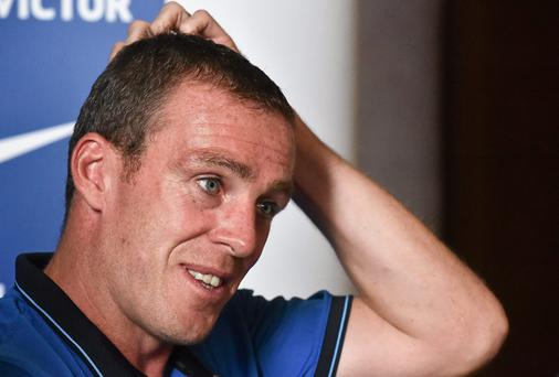 Richard Dunne reflecting on a marvellous Ireland career in Carton House yesterday. Picture credit: David Maher / SPORTSFILE