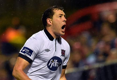 1 August 2014; Dundalk's Brian Gartland celebrates after scoring his side's second goal