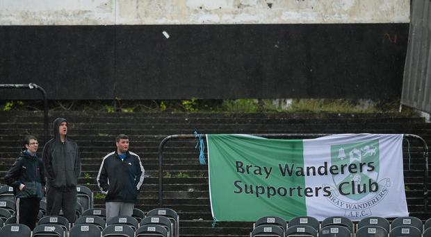 A stoppage time equaliser from Michael Barker, saw Bray Wanderers climb out of the relegation zone and end an eight-game losing streak. Picture credit: Paul Mohan / SPORTSFILE