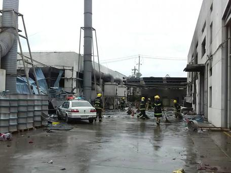 This photo released by China's Xinhua News Agency shows the site of an explosion at an eastern Chinese automotive parts factory