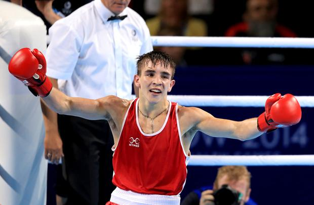 Northern Ireland's Michael Conlan celebrates his victory in the Men's Bantam (56kg) Final Bout at the SSE Hydro, during the 2014 Commonwealth Games in Glasgow. PRESS ASSOCIATION Photo. Picture date: Saturday August 2, 2014. See PA story COMMONWEALTH Boxing. Photo credit should read: Peter Byrne/PA Wire. RESTRICTIONS: Editorial use only. No commercial use. No video emulation.