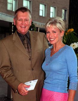 Television presenters Mike Smith and Sarah Greene arriving at BBC Television Centre in west London, as the former Radio 1 presenter Mike Smith has died at the age of 59.