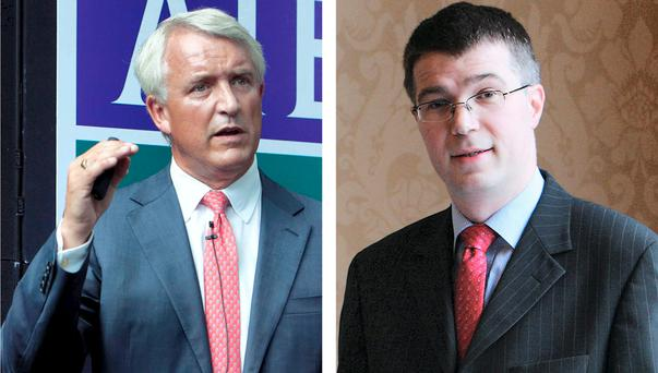 Left: AIB CEO David Duffy comments on AIB's first-half interim results. Photo: Shane O'Neill/ Fennell Photography Right: David Duffy of the ESRI said high rents could delay 'family formation' Photo: Shane O'Neill/Fennell Photography