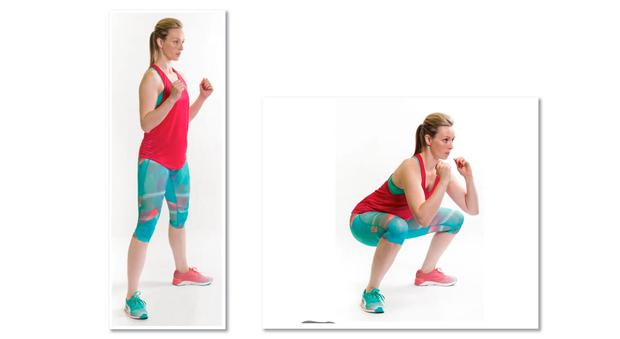 SUMO SQUAT 1/ Start standing upright with your feet wider than shoulder width and your toes pointing outwards. 2/ Lower your body toward the floor, pushing your hips back and down and bending your knees. 3/ Push through your heels to return to the top position. 4/ Keep your back as straight as possible throughout avoiding bending forward. Photo: El Keegan