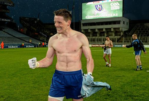 Monaghan captain Conor McManus celebrates after the game