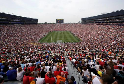 The scene at Michigan Stadium, where over 109,000 fans watched Manchester United get the better of Real Madrid. AP