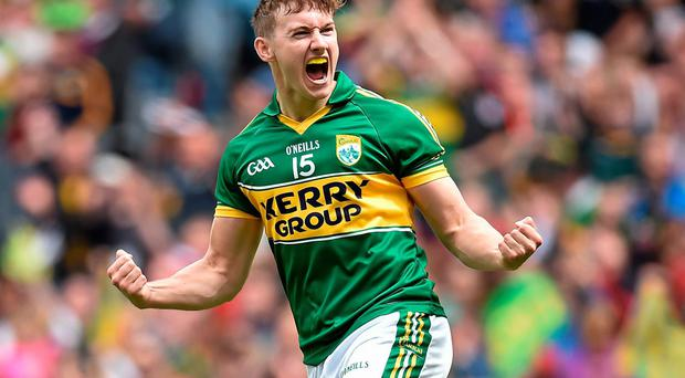 James O'Donoghue celebrates after scoring his Kerry's goal in the All-Ireland quarter-final against Galway at Croke Park. Photo: Brendan Moran / SPORTSFILE