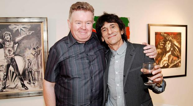 Richie Taylor with Rolling Stone Ronnie Wood in the Project Office in Temple Bar in 2007. Photo: Doug O'Connor.