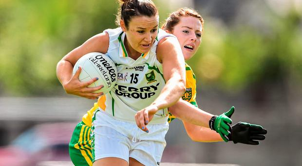 Kerry's Louise Galvin gets away from Shannon McGroddy of Donegal during the All-Ireland ladies SFC qualifier at St Brendan's Park. Photo: Brendan Moran / SPORTSFILE