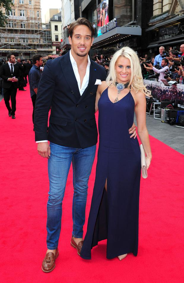 James Lock and Danielle Armstrong attending the premiere of new film the Expendables III at the Odeon Cinema in London.