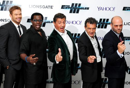 Kellan Lutz, Wesley Snipes, Sylvester Stallone, Antonio Banderas and Jason Statham attending the premiere of new film the Expendables III at the Odeon Cinema in London.