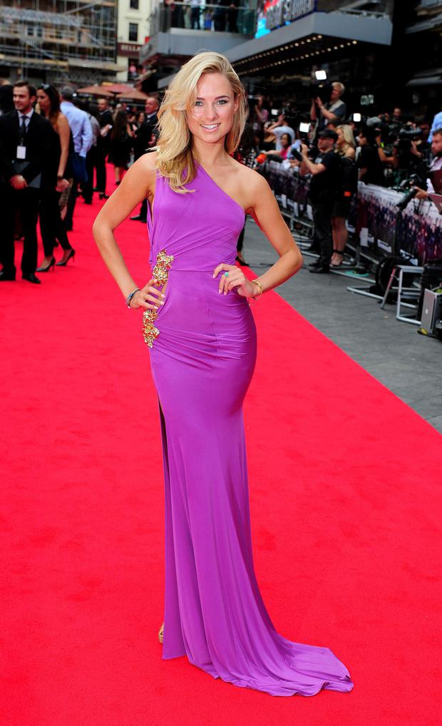 Kimberley Garner attending the premiere of new film the Expendables III at the Odeon Cinema in London.