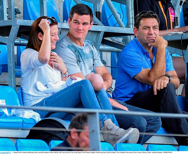 Ireland and Racing Metro out-half Jonathan Sexton with his wife Laura and son Luca at the game. 2014 Women's Rugby World Cup Fina, Pool B, Ireland v New Zealand, Marcoussis, Paris, France. Picture credit: Aurélien Meunier / SPORTSFILE