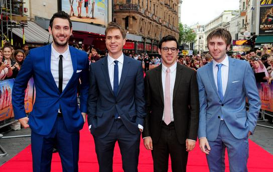 (left to right) Blake Harrison, Joe Thomas, Simon Bird and James Buckley attending the premiere of new film The Inbetweeners 2 at the Vue Cinema in London.